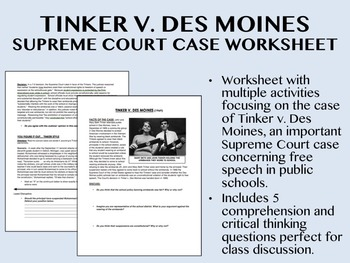 Tinker v. Des Moines Supreme Court Case worksheet - US His