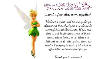 Tinkerbell Themed Classroom Wish List for Open House