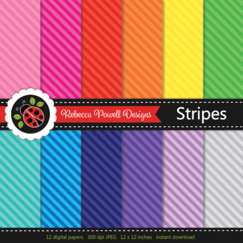 Tinted rainbow diagonal stripes printable digital papers set/ backgrounds