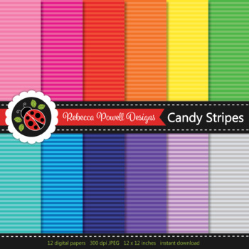 Tinted rainbow narrow candy stripes printable digital papers set/ backgrounds