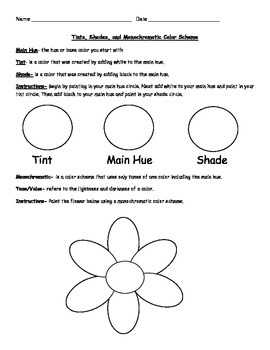 Tints, Shades, Value, and Monochromatic Art Worksheet