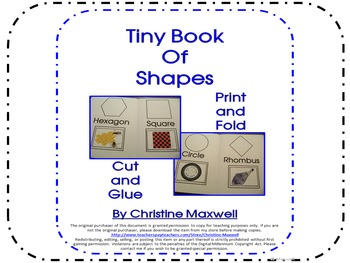 Tiny Book of 2D Shapes Print, Fold, Cut and Glue