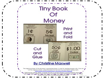 Tiny Book of Money Print, Fold, Cut and Glue