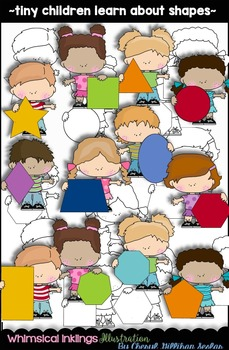 Tiny Children Learn About Shapes Clipart Collection