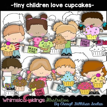 Tiny Children Love Cupcakes Clipart Collection