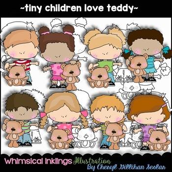 Tiny Children Love Teddies Clipart Collection