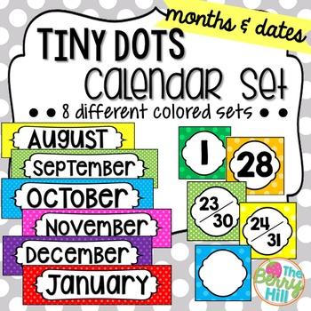 Tiny Dots Calendar Set - Months and Dates (8 total sets!)