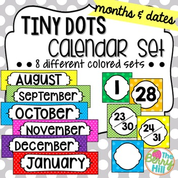 Tiny Dots Calendar Set - Months and Dates (8 total sets!)
