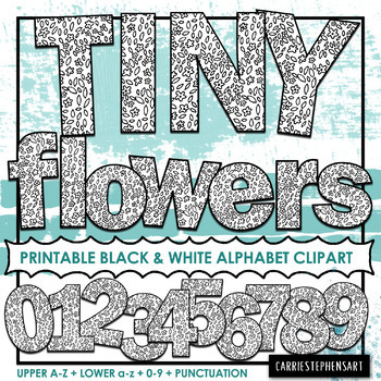 Tiny Flowers Mountain Printable Bulletin Board Letters | Alphabet ClipArt PNG