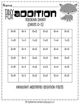 Tiny Fox Addition- No Prep Addition 0-5