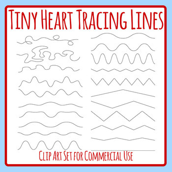 Tiny Heart Tracing Lines for Pencil Control Clip Art Set Commercial Use