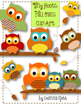 Tiny Hoots: Fall Owls Clip Art for Personal/Commercial Use