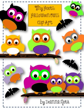 Tiny Hoots: Halloween Owls Clip Art for Personal/Commercial Use