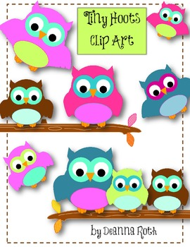 Tiny Hoots Owl Clip Art for Personal/Commercial Use