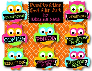 Tiny Hoots: Punctuation Owls Clip Art for Personal/Commercial Use