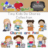Tiny Kids Do Chores Clipart Collection