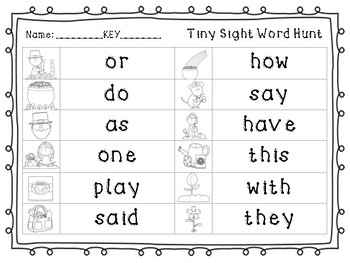 Tiny Sight Word Hunt- March