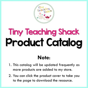 Tiny Teaching Shack Product Catalog