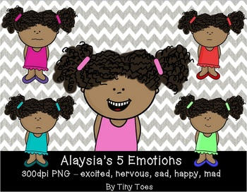 {Tiny Toes} Alaysia's 5 Emotions Clipart PNG at 300dpi