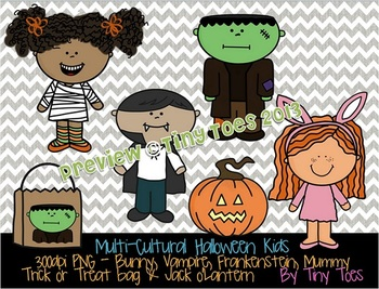 {Tiny Toes} Multi-Cultural Halloween Kids Clipart PNG with Line Art at 300dpi