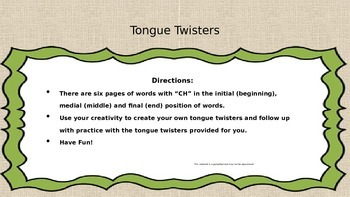 "Tiny Tom's ""CH"" Tongue Twisters"