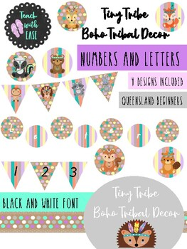 Tiny Tribe Cute Boho Tribal Decor Numbers and Letters includes bunting QLD F
