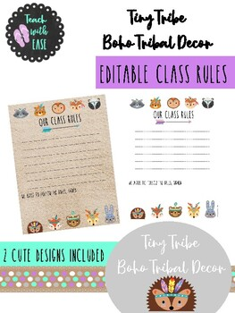 Tiny Tribe Cute Boho Tribal Woodland Animal Decor Classroom Rules Posters