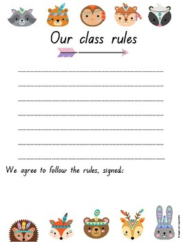 Tiny Tribe Cute Boho Tribal Woodland Animal Decor Classroom Rules Posters QLD F