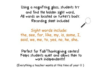 Tiny Turkeys: A Sight Word Hunt