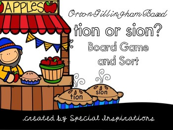 Tion or Sion? Phonics Activity Orton-Gillingham (Apple Fes