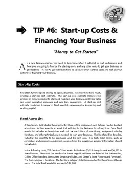 "ENTREPRENEURSHIP - Tip #6: ""Start Up Costs & Financing Your Business"""