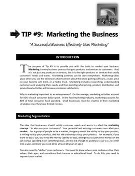 """ENTREPRENEURSHIP - Tip #9:  """"Marketing the Business"""""""