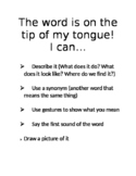 Tip of my Tongue Word Retrieval Strategies Poster/Visual Aide