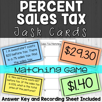 Tip or Gratuity Matching Game Task Cards