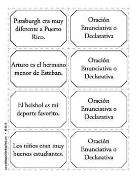 Tipos de Oraciones 3 - Memorama
