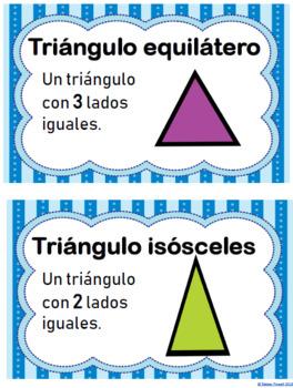 Tipos de ángulos y tipos de triángulos- Spanish Math Word Wall
