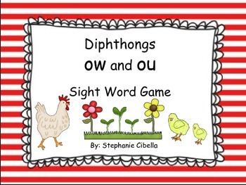 """Tippy-Toe Chick, Go! Diphthongs """"ow"""" and """"ou"""" Sight Word Game"""