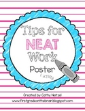 Tips For Neat Work Poster & Activity