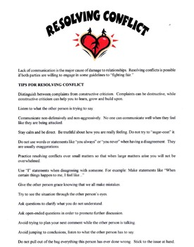Tips For Resolving Conflict Lesson
