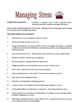 Tips For Stress Management Lesson