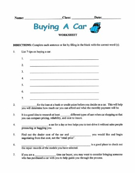 Tips On Buying A Car Lesson
