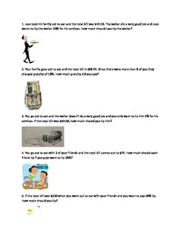 Tips Worksheet with Gratuities With Pictures