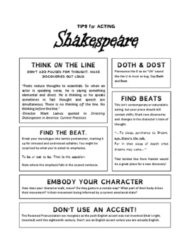 Tips for Acting Shakespeare