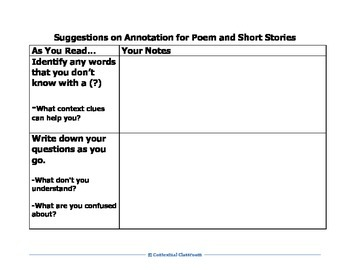 Tips for Annotating Poems and Short Stories