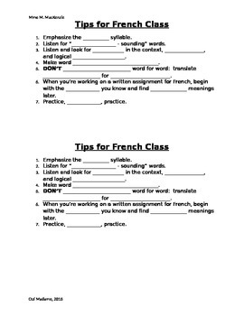 Tips for French Class
