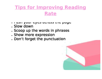 Tips for Improving Reading Rate Mini Anchor Chart