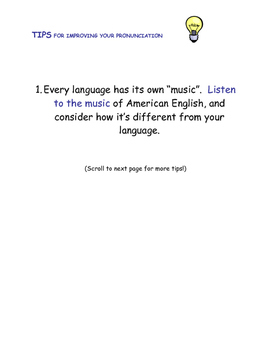 Tips for Improving Your Pronunciation handout