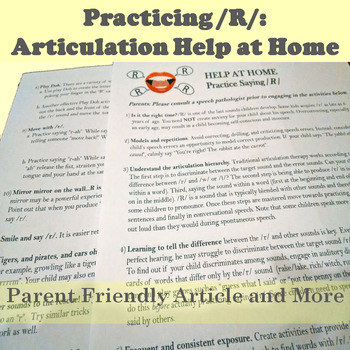 Tips for Parents: Facilitate /R/ at Home
