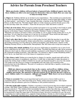 Free Handout- Tips for Parents from Preschool Teachers (In