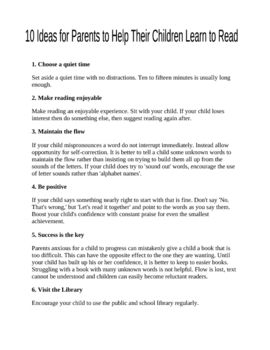 Tips for Parents to Help with Reading at Home